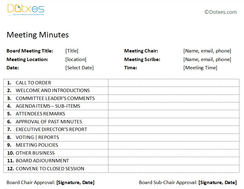 Board Meeting Minutes Template (Plain Format) - Dotxes