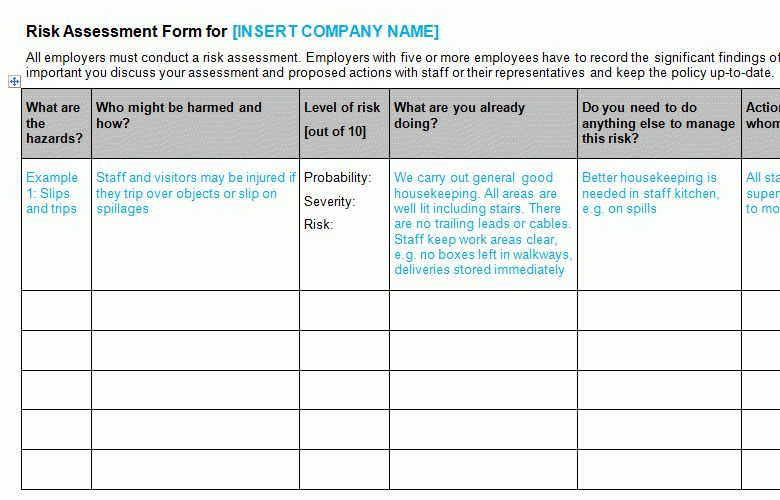 Risk Assessment Form Template - Bizorb