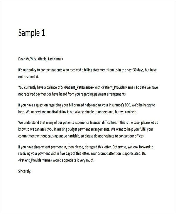9 Medical Collection Letter Templates Free Job Duties sample ...