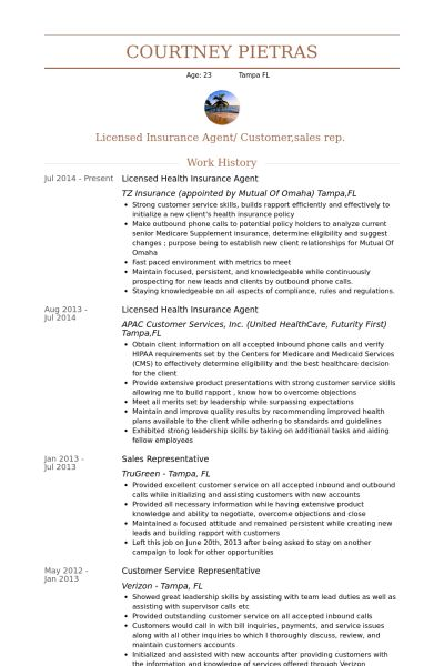Insurance Agent Resume samples - VisualCV resume samples database
