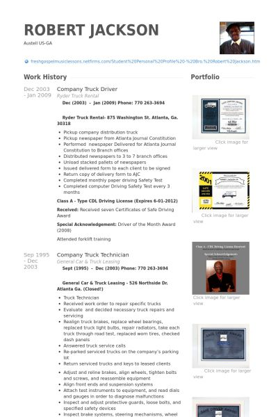 Truck Driver Resume samples - VisualCV resume samples database