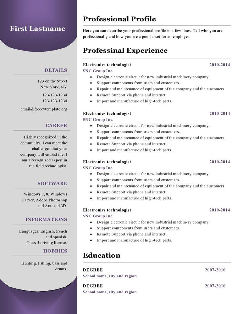 Resume templates #380 to 385 – Free CV Template dot Org