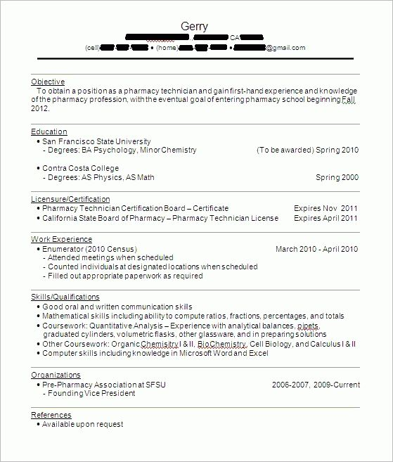 Pharmacy Tech Sample Resume | Experience Resumes
