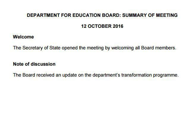 DfE board minutes 'fail to set transparency example'