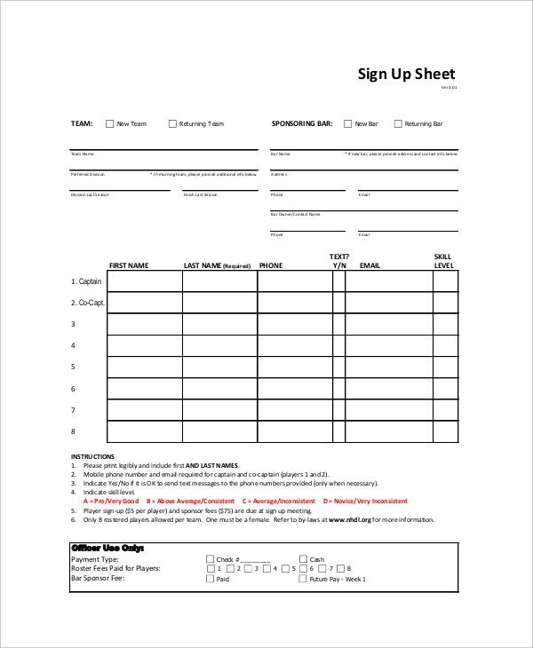 Sign Up Sheet - 9+ Free PDF, Word Documents Download | Free ...