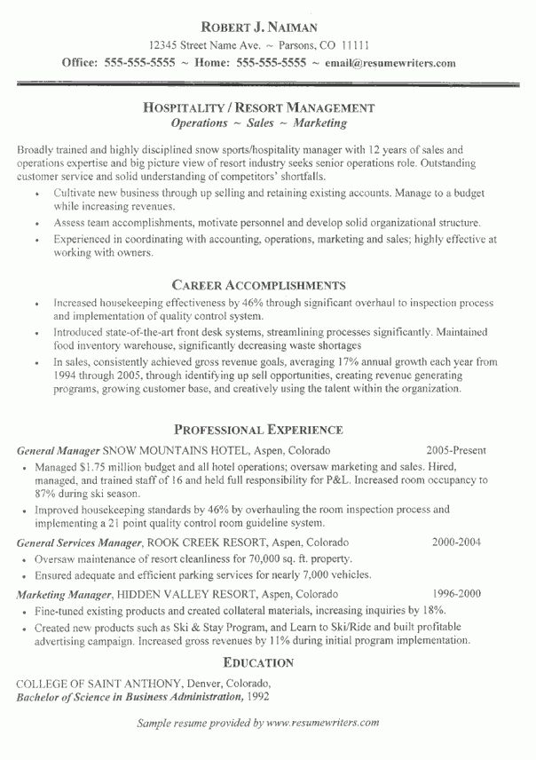 Resume for folks in the hospitality industry. #hospitality #resume ...