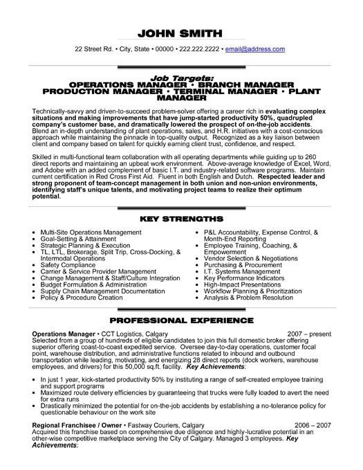 Download Sample Resume Operations Manager | haadyaooverbayresort.com