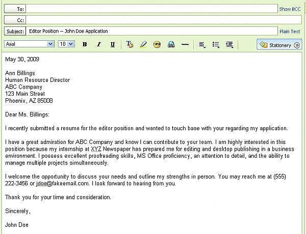 cover letter emailing a cover letter and resume email internship ...