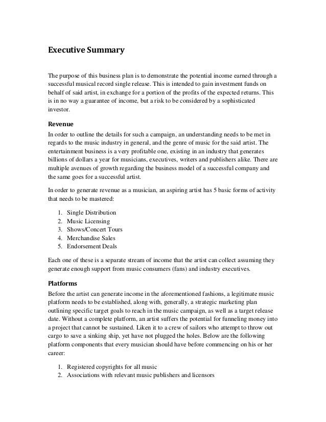Music marketing plan executive summary