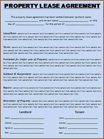 3 free lease agreement template word | Outline Templates