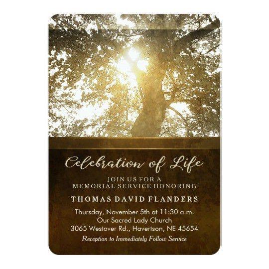 Golden Leaves Nostalgia Memorial Service Invite | Zazzle.com