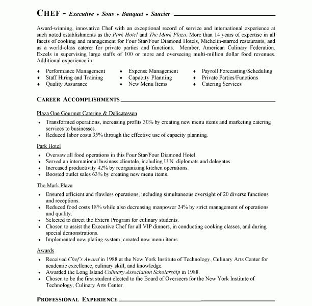 Download Chef Resume | haadyaooverbayresort.com