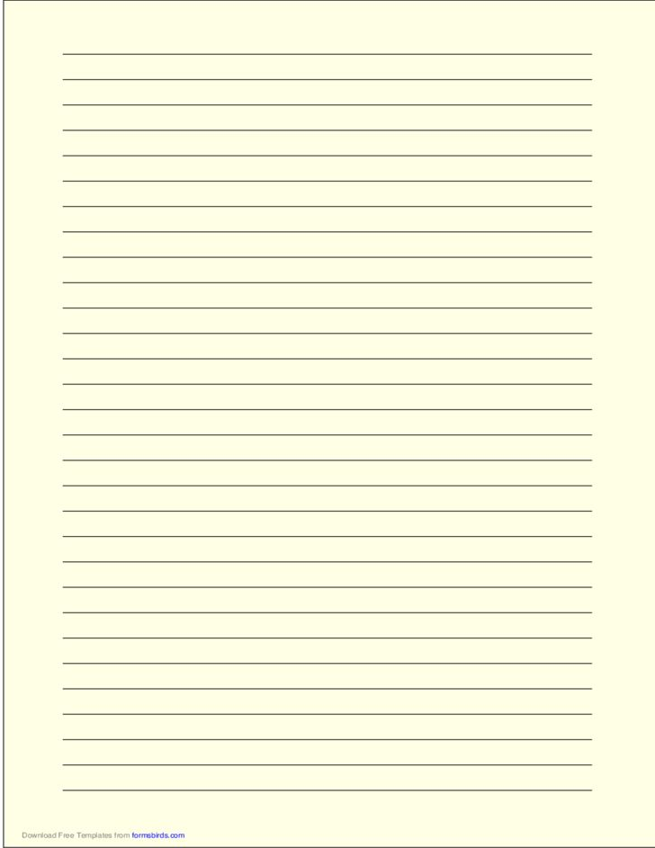 A4 Size Lined Paper with Wide Black Lines - Light Yellow Free Download