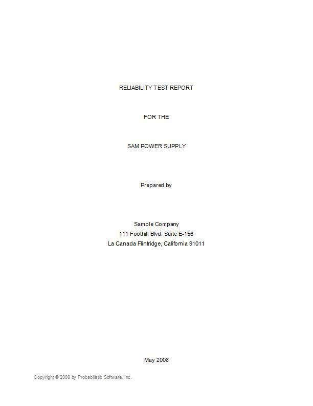 Example Reliability Test Report, To Determine Equipment MTBF, per ...
