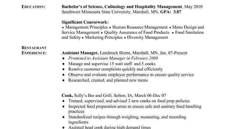 sample resume cook chef chef resume sample examples sous chef ...