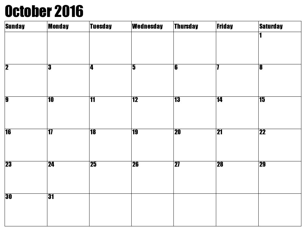 October 2017 Printable calendar | Printable Calendar Templates