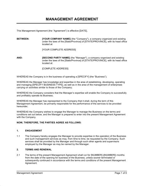 Management Agreement - Template & Sample Form | Biztree.com