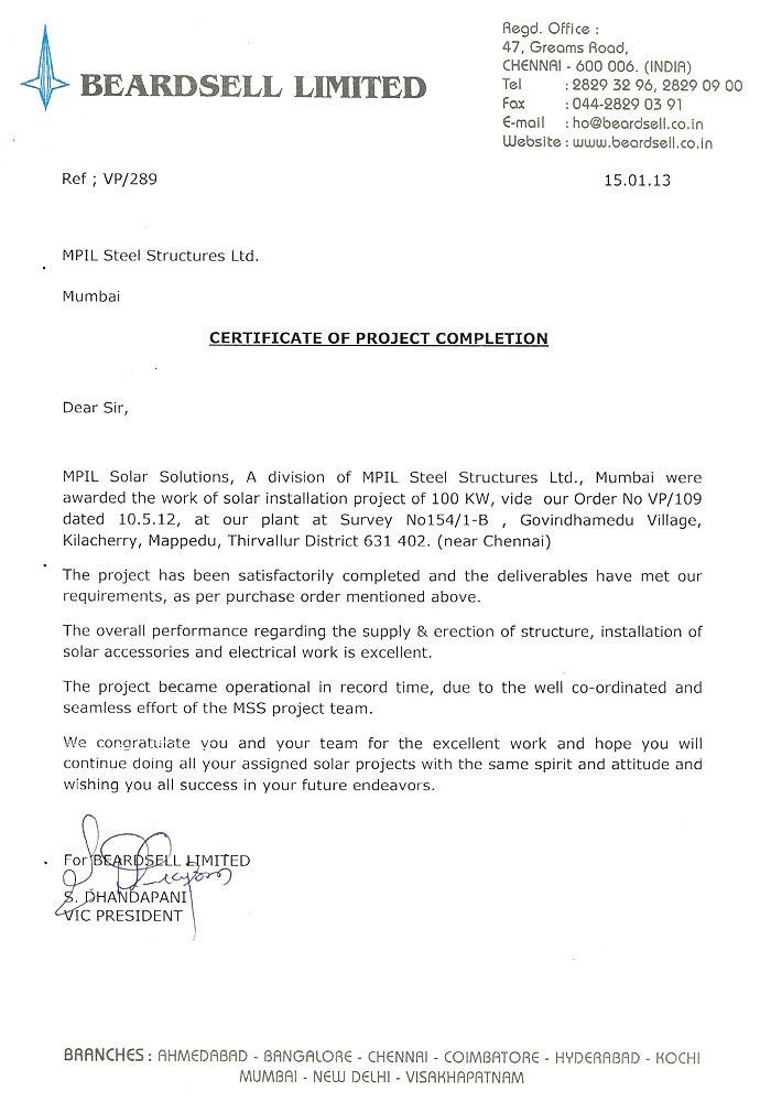 MPIL - Structural Steel Manufacturer |Clients Completion Certificate