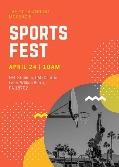 Orange Yellow Photo Funky Sports Flyer - Templates by Canva