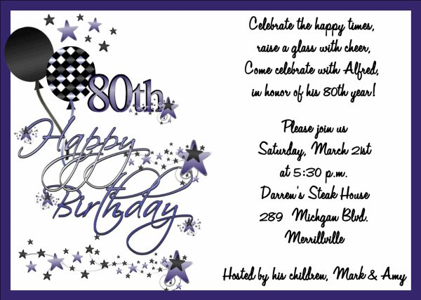 90th Birthday Invitation Wording Samples | 80th Birthday Party ...