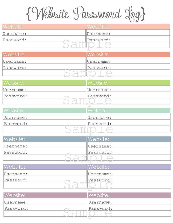 64 best Password Organizer images on Pinterest | Planner ideas ...