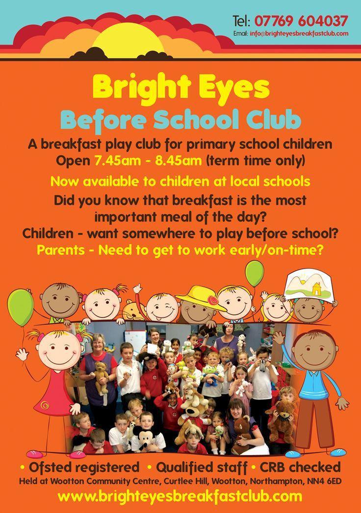 Bright Eyes - before school club leaflet design www.flyer ...