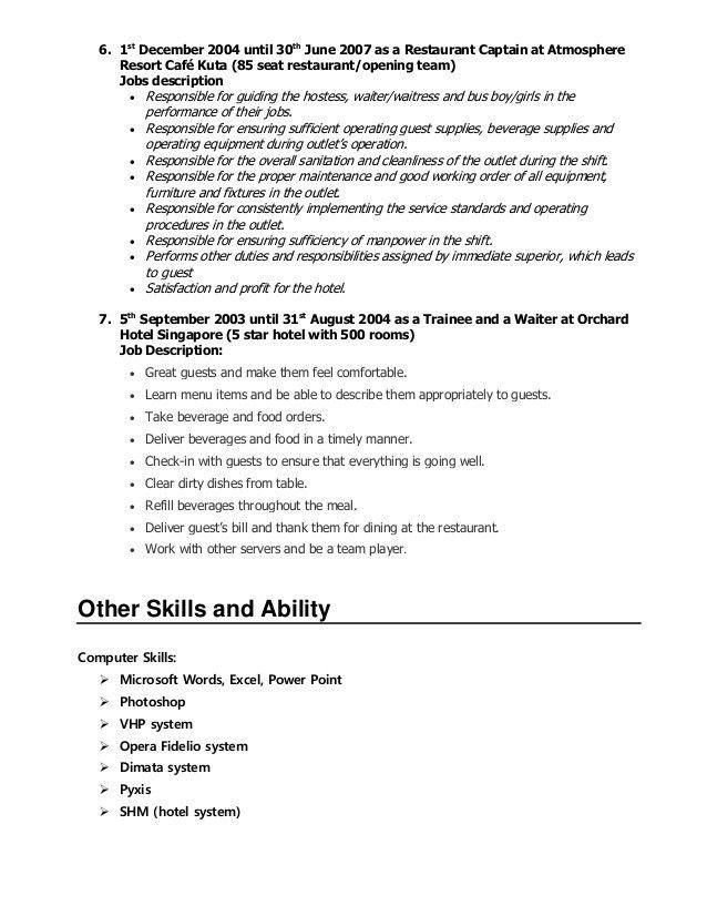 Server Job Duties For Resume - Contegri.com