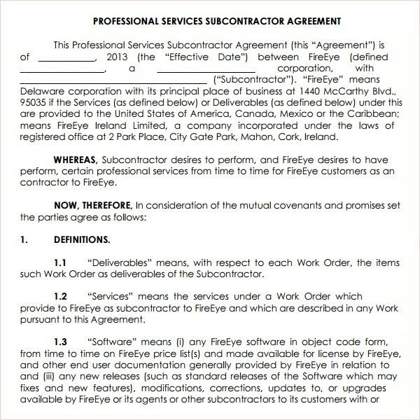 Subcontractor Agreement Template | Contract Agreements, Formats ...