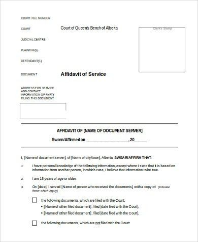 Affidavit of Service Form Samples - 8+ Free Documents in Word, PDF