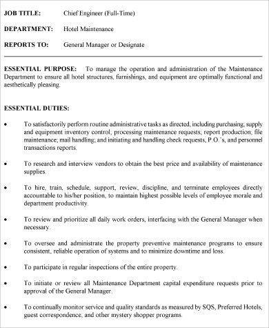 Chief Engineer Job Description Sample - 9+ Examples in Word, PDF