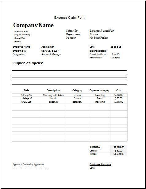 expense claim form DOWNLOAD at http://www.bizworksheets.com ...