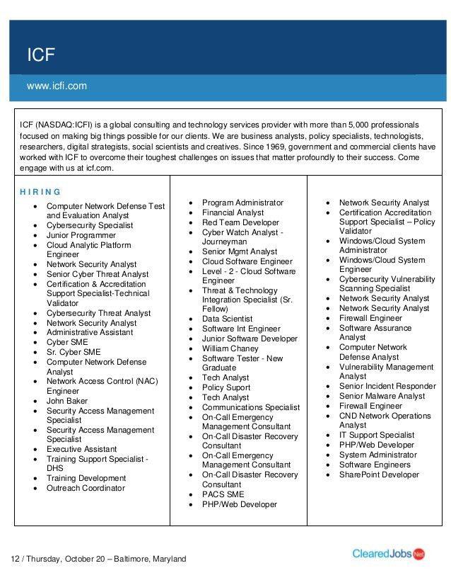 CyberMaryland Job Fair Job Seeker Handbook October 20, 2016, Baltimor…