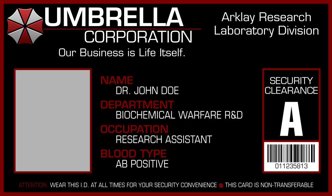 Umbrella Corporation I.D. Card Template by ApolloLV on DeviantArt