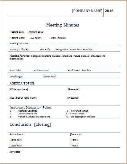 Meeting Minutes Template for MS WORD | Word Document Templates