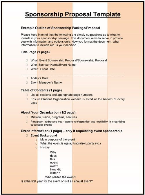 3+ Sponsorship Proposal Templates | Excel & Word Templates