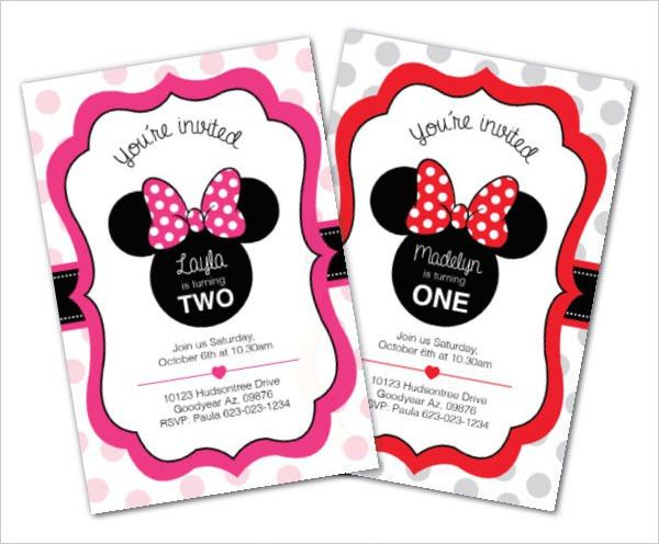 Minnie Mouse Birthday Invitation Templates Free - Themesflip.Com