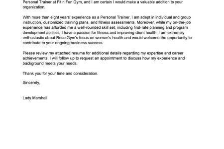 personal trainer cover letters
