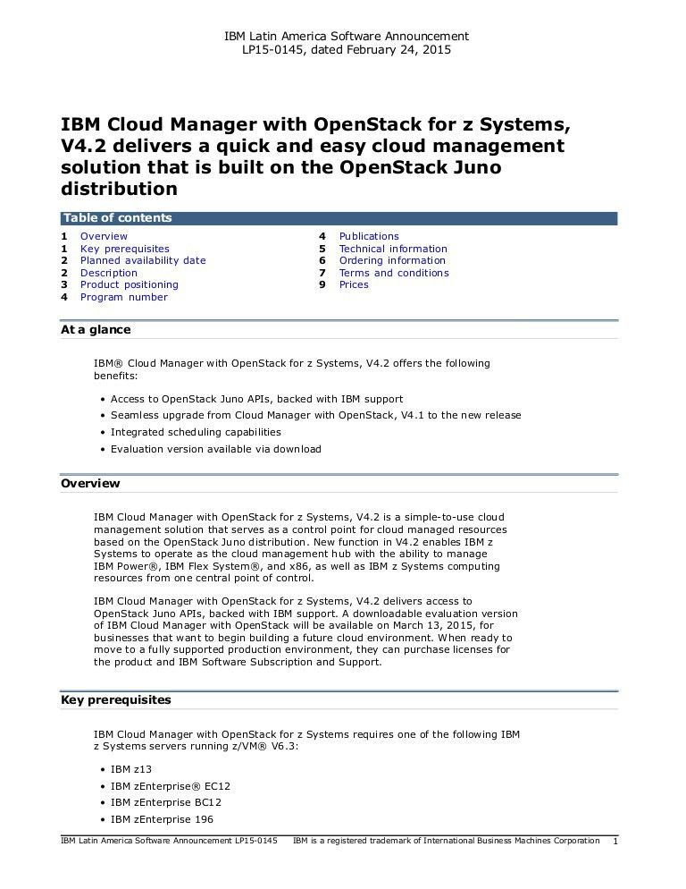 Carta de anúncio IBM - IBM Cloud Manager with OpenStack for z Systems…
