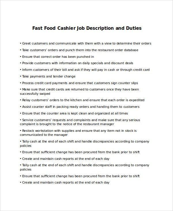 Sample Cashier Job Description - 9+ Examples in PDF, Word
