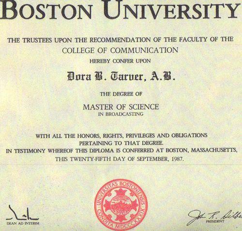 Dora Tarver's Speaking and Extended Education Certificates