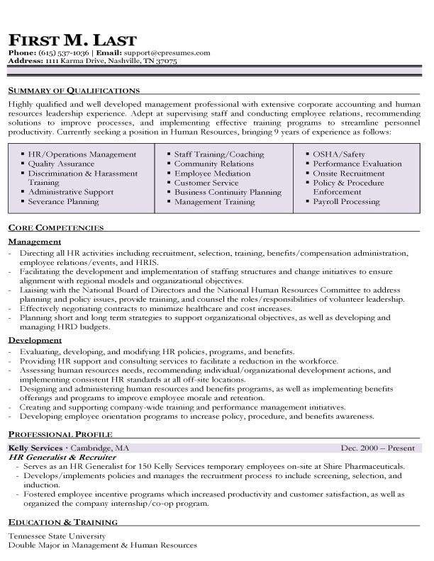 Sample Hr Generalist Resume | jennywashere.com