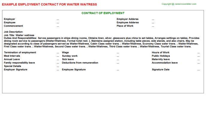 Waiter Waitress Employment Contract