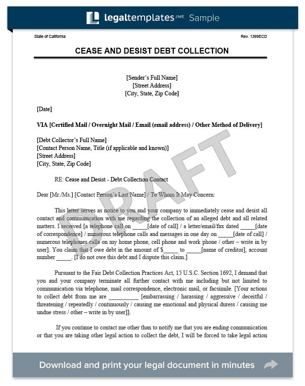 Cease and Desist Letter | Create a Free Cease and Desist | Legal ...