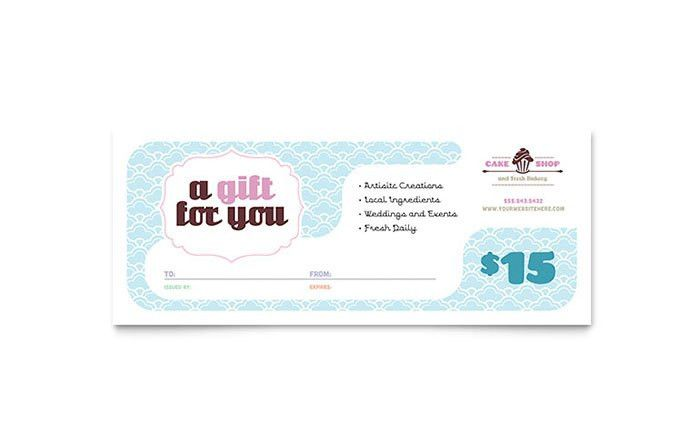 Bakery & Cupcake Shop Gift Certificate Template Design