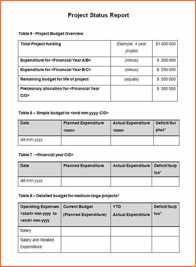 8+ weekly status report template doc - Budget Template Letter