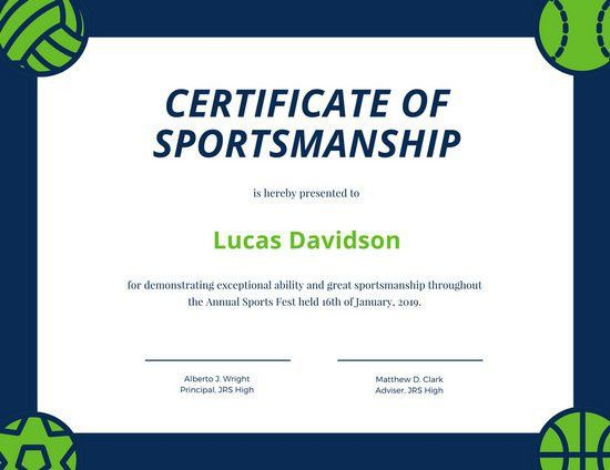 Blue and Green Ball Illustration Sport Certificate - Templates by ...