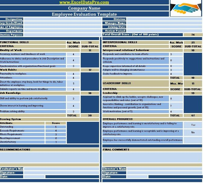 Download Employee Evaluation or Employee Performance Evaluation ...
