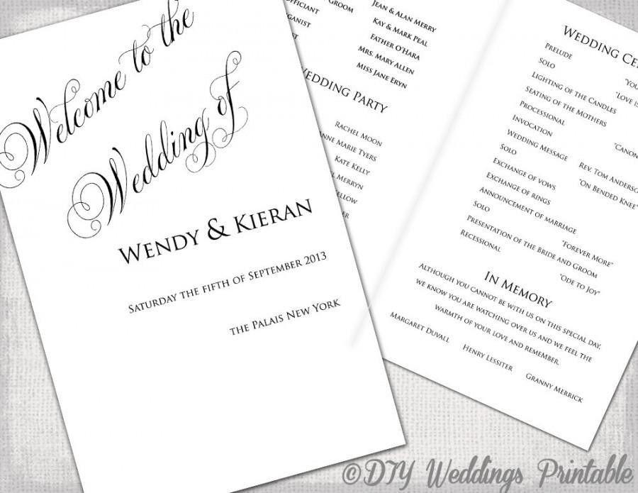 Wedding Program Template DIY Ceremony Program Printable Black ...