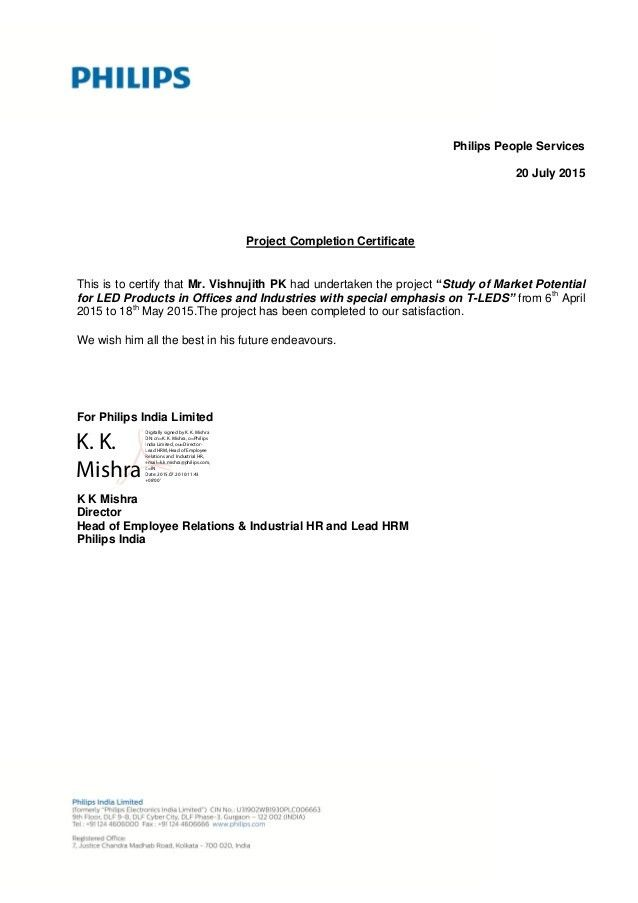 Project completion letter project confiration letter sample vishnujith pkintern completion letter thecheapjerseys Image collections