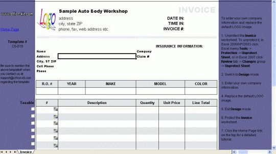 Auto Repair Invoice Template - Free download and software reviews ...